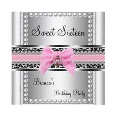 Sweet Sixteen 16 Pink Lace Silver Pearl Leopard Personalized Invitations by zizzago