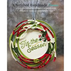 Christmas tag featuring Stampin' Up Swirly Scribbles Thinlits & Oh What Fun…