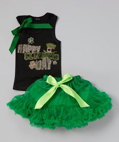 Love this Emerald Leprechaun Hat Tank & Pettiskirt - Toddler & Girls by Beary Basics on #zulily! #zulilyfinds