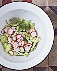 Cucumber-Radish Salad with Crème Fraîche, Dill and Mint Recipe Cucumber Recipes, Mint Recipes, Summer Recipes, Salad Recipes, Great Recipes, Radish Salad, Cucumber Salad, Food & Wine Magazine, Creme Fraiche