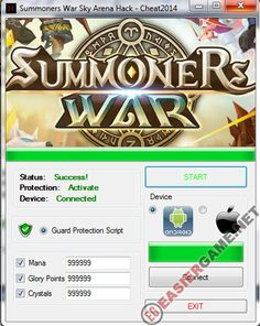 Unlimited Mana, Glory Points, Crystals in Summoners War Sky Arena  Download Summoners War Sky Arena Cheats:  http://easiergame.net/summoners-war-sky-arena-cheat-hack-ios-android/