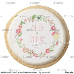Whimsical Floral Wreath Personalized Wedding Favor Round Shortbread Cookie