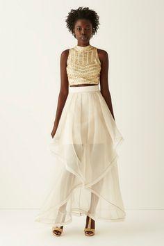 Social Code Sleeveless Sequin Top and Organza Long Skirt