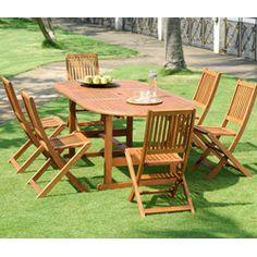 Salon de jardin bois Remmington 1 table 190 230cm et 4 chaises et 2 ...