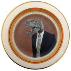 Mr. T. Rex Portrait Plate  Altered Antique by BeatUpCreations