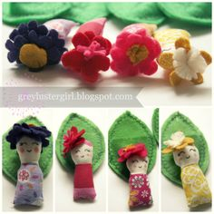 Flower Babies have their own leaf pouches to sleep in.  Great Travel gift ideas when traveling with kids.  greylustergirl.blogspot.com