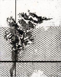 Alberto Boschi - Il fiore e la rete - 1971 - acquaforte mm 252 × 198