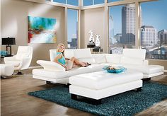 Shop for a Shiloh White  3 Pc Blended Leather Sectional Living Room at Rooms To Go. Find Leather Living Room Sets that will look great in your home and complement the rest of your furniture.