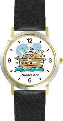 Noah's Ark No.5 - Biblical Theme - WATCHBUDDY® DELUXE TWO-TONE THEME WATCH - Arabic Numbers - Black Leather Strap-Children's Size-Small ( Boy's Size & Girl's Size ) WatchBuddy. $49.95