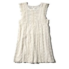 Abercrombie & Fitch Embroidered Lace Babydoll Dress ($68) ❤ liked on Polyvore featuring dresses, cream, white baby doll dress, embroidered dress, draped dress, babydoll dress and lacy dress