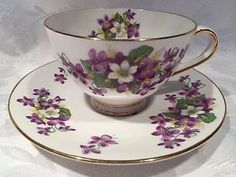 "Beautiful Tuscan ""Woodland Violet"" Fine Bone China TEA CUP AND Saucer 