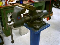 Pedestal Vise Mount by KB Fabrications -- Homemade pedestal vise mount constructed from steel plate and pipe. http://www.homemadetools.net/homemade-pedestal-vise-mount
