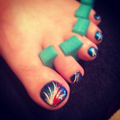 Red white and blue nail design by Tesk Nichols