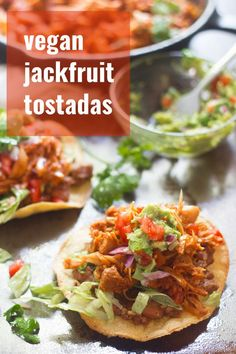 Tender jackfruit is simmered with tomatoes and Mexican spices, then served over refried bean slathered tortillas to make these spicy jackfruit tinga tostadas. You won't miss the meat in this easy and flavor-packed vegan dinner! Vegan Lunch Recipes, Veg Recipes, Delicious Vegan Recipes, Vegan Dinners, Mexican Food Recipes, Vegetarian Meals, Vegan Food, Healthy Recipes, Tostadas
