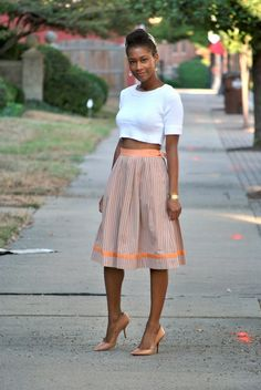 I LOVE a crop top and midi skirt.  Now...to pull it off...
