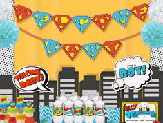 Superhero Welcome baby Baby Shower Banner by LilFacesPrintables, $6.95