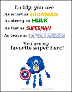 Every father should feel like a superhero. Celebrate Father's Day with these five fun and crafty superhero ideas that will make this year one of a kind. Father's Day Printable, Printable Crafts, Printables, Fathers Day Art, Preschool Fathers Day Gifts, Preschool Poems, Preschool Crafts, Daddy Day, Father's Day Diy
