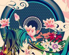 Hatsune Miku - green, lake, lotus, pink, hatsune miku, blue, anime, vector, girl, flower, manga, hair, red, vocaloid