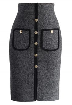 Studded Pockets Knitted Pencil Skirt in Grey