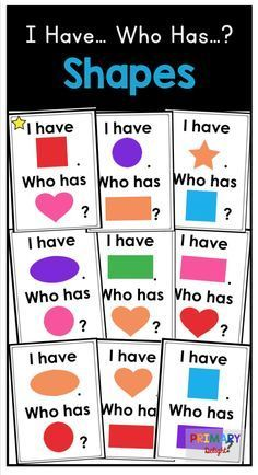 A fun activity to practice shapes and colors in preschool or kindergarten: I Have... Who Has...? Shapes