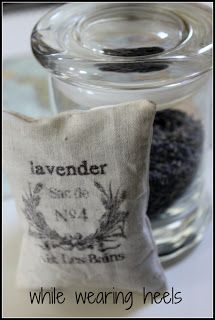 DIY Lavender Sachet.  Use freezer paper to transfer image onto fabric and make your own sachet.  Easy inexpensive gift ideas.