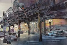 John T. Salminen (American, born 1945)  watercolor 'One Way'