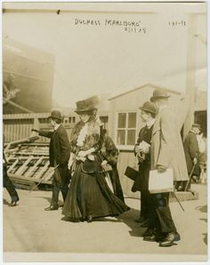 The Duchess of Marlborough (1 Apr 1908) likely NYC where she may have spoken at a dinner the night before hosted by Mrs. Humphry Ward. Other accounts suggest she departed NY Harbor that day aboard the Maurentania along with her cousin Alfred G. Vanderbilt who was facing divorce proceedings with his wife Mrs. Ellen French Vanderbilt.