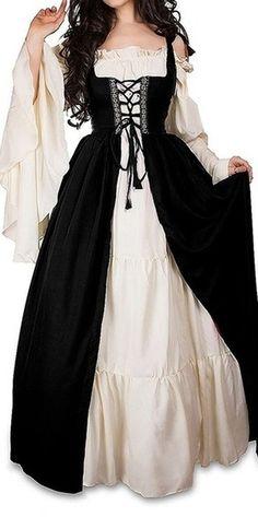 Victorian Style Women Medieval Renaissance Gowns Long Sleeve Lace Celtic Fantasy Dress Long Dress Retro Dresses Plus Size Renaissance Costume, Renaissance Fashion, Renaissance Clothing, Victorian Fashion, Victorian Clothing Women, Victorian Style Dresses, Plus Size Renaissance Dress, Diy Medieval Costume, Renaissance Outfits