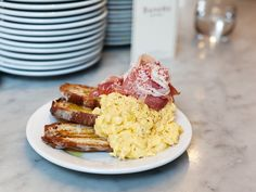 steamed eggs with proscuitto and toast, from Buvette in NYC