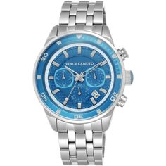 Vince Camuto Women's Blue Stainless Steel Bracelet Watch 45mm... ($195) ❤ liked on Polyvore featuring jewelry, watches, blue dial watches, bracelet wrist watch, stainless steel jewellery, stainless steel watches and blue bracelet