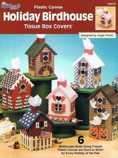 Free Plastic Canvas Tissue Box Patterns | HOLIDAY BIRDHOUSE TISSUE BOX COVERS Plastic Canvas Pattern Book