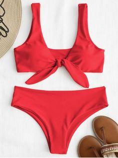 113525ad6094d Front Knot Padded Bikini Set.  Zaful  Swimwear