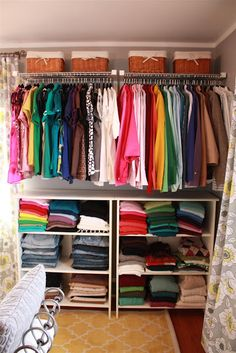 Hat racks and bookcases from Ikea make a great closet for a total of $250