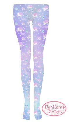 Unicorn Tights Pegasus Pony Pastel Stockings Fairy Kei Lolita Pastel Galaxy Stars universe Size XS Through 3XL