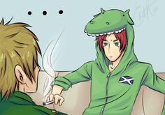 England & Scotland (Scotty looks so adorable in his Nessy hoodie! :3)<<The Hell has gotten into him?!