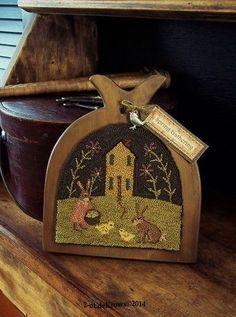 Spring Gathering Primitive Original Easter Bunny Chicks Punch Needle Hornbook | 2 olde crows