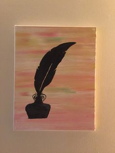 A feather. In some ink. 11x14 canvas