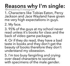 Seriously when you show me guys like Percy Jackson, Maxon Schreave, Peeta Mellark, Neville Longbottom, Jace Wayland, and Tobias Eaton how does the rest of the male species compete?? It's not fair to them! ;)