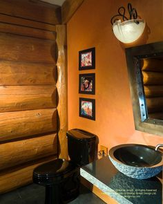 Bathroom in a log post and beam home I designed a number of years ago. #logcabins #logcabindesign #postandbeam #loghomes