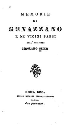 """""""Memorie di Genazzano e de' vicini paesi"""" di Girolamo Senni - Roma, 1838"""