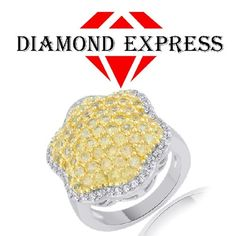 """2.16 Ct Round Cut Yellow Sapphire & White Zircon14K Gold Cluster Ring """"Mother\'s Day Gift"""". Starting at $89"""