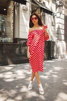 Платье-рубашка, Midi, в горох продажа по низкой цене в интернет магазине MoyGarderob.com.ua. Доставка в любой населенный пункт Украины.