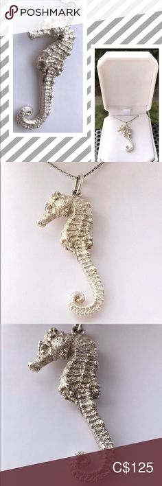 Sterling Silver 34mm Seahorse with 7.5 Charm Bracelet Jewels Obsession Seahorse Pendant