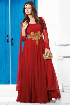 3ef1800edfb8c Maroon Color Designer Party Wear Long Length Gowns From Skysarees Indian  Bridal Fashion