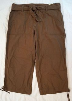 Izod Cropped Capri Belted Brown Khaki Womens Pants Size 10 NWT (R5#566) #Izod #CaprisCropped