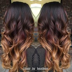 fall hair color for brunettes Dark chocolate to red to copper blonde ends! when i see all these fall hair color for brunettes balayage brown carame Ombre Hair Color For Brunettes, Dark Ombre Hair, Brunette Color, Blonde Color, Balyage For Dark Hair, Chocolate Ombre Hair, Brown To Red Ombre, Red Blonde, Hair Color Dark