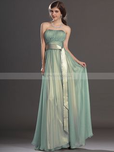 Strapless Pleated A Line Chiffon Bridesmaid Dress with Long Tailed Sash