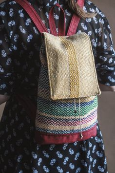 Ethnic handwoven backpack.