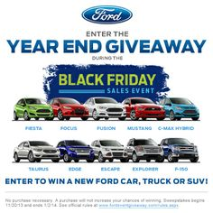 10 vehicles, 10 videos, 10 chances to win.  Enter here:  https://www.fordeventgiveaway.com/?ref=1833067