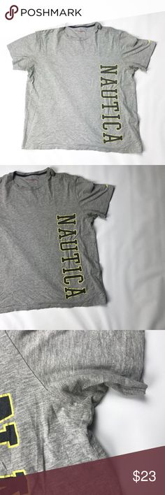 """Nautica Men's Crewneck T-Shirt Large Spellout XL Gently used, small hole in the underarm area   Nautica Men's Crewneck T-Shirt Large Spellout Logo Cotton  Size XL Color Gray  Measurements Length 28"""" Armpit to armpit 25""""  Inventory A22 Nautica Shirts Tees - Short Sleeve"""